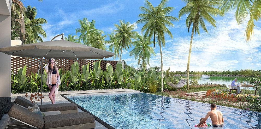 bể bơi lớn ngoài trời của Casamia Hội An Villa view cực thu hút