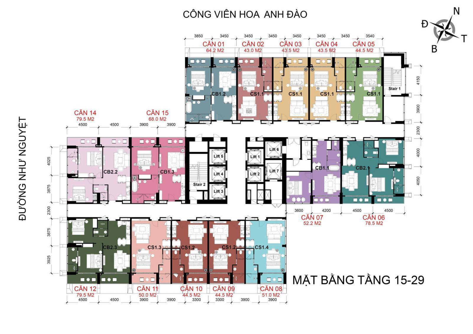 mặt bằng tầng 15 - 29 Movenpick Đà Nẵng